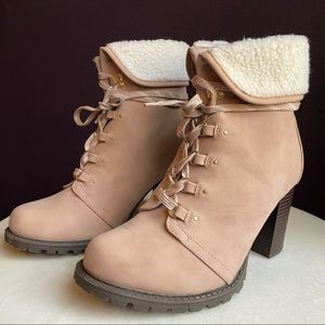 Torrid Pale Pink Faux Suede Shearling Combat Boot